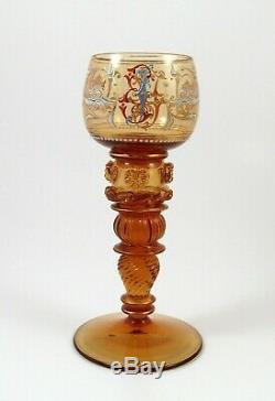 Fine Victorian Enameled Moser Roemer Amber Glass Wine Goblets Bohemian