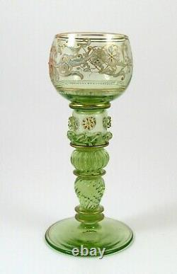 Fine Victorian Enameled Moser Roemer Uranium Vaseline Glass Wine Stems Bohemian