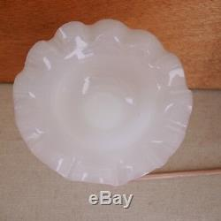 French Opaline Glass Compote Tazza Fluted Rim 19th-C Clambroth Pink Candy Dish