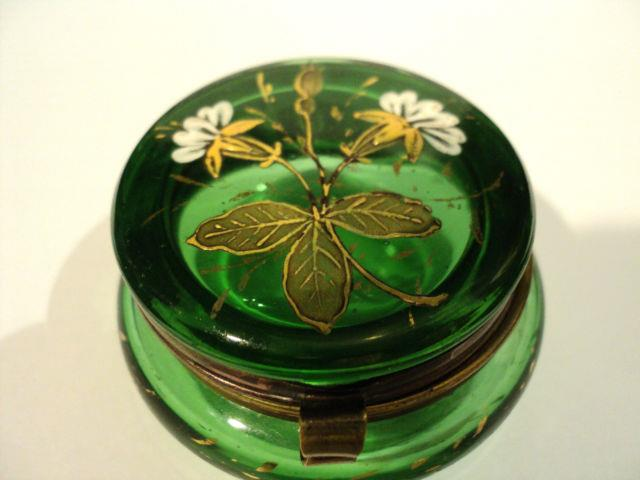 Green Victorian Art Glass Patch Box With Enameled Floral Top & Gilt Decoration