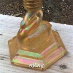 Gold Aurene & Plum Fenton Heartlights Swan Lamp Limited Edition #1 0f 25