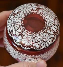 Gorgeous Victorian Era Moser Cranberry Glass Dresser Box W Painted Lace Pattern