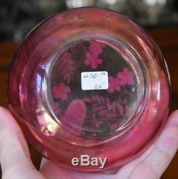 Gorgeous Victorian Era Moser Cranberry Glass Dresser Box W Purple Pink Flowers