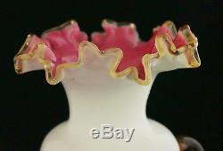 Gorgeous Victorian Stevens & Williams Vaseline Cranberry Vase Applied Acorns
