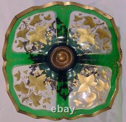 Green Bohemian Moser Cut Glass Gilt Compote Bowl Silverplate Base