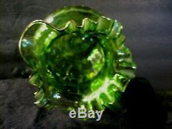 Green Victorian Blown Art Glass Enameled Lemonade Set Fluted Pitcher & 6 Glasses