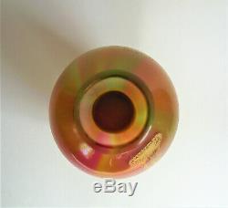 HARRACH RAINBOW Iridescent 8 5/8 GOLD Enamel BOHEMIAN Antique ART GLASS VASE