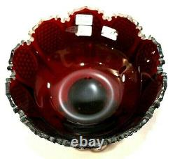 Hand Made Victorian Bohemian Moser Overlay Ruby Red French Cut Glass Tray
