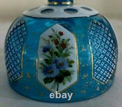 Hand Made Vintage Victorian Bohemian Moser Cut Glass Overlay Butter Dish & Tray