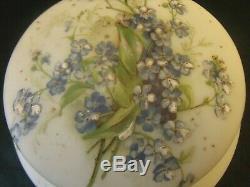 Hand Painted Wavecrest Hinged Blown Dresser Jar Box w Flowers