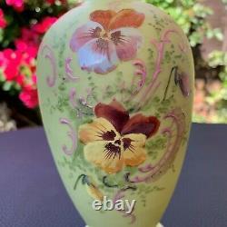 Harrach Bohemian Art Glass Opaque Green Vase Enamelled Floral Decoration Pair