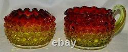 Hobbs Brockunier USA Victorian Hobnail Dewdrop Rubina Verde Cream & Sugar Glows