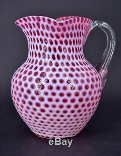 Hobbs Brockunier Victorian Cranberry Art Glass Pitcher Windows Honeycomb