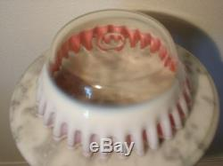 Hobbs Brockunier White Opalescent Rubina Lined Art Glass Fruit Bowl Rare