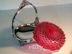 Hobbs Meriden B Brides Basket Cranberry Hobnail EAPG Quadruple Plate Victorian