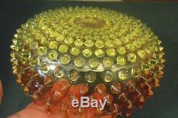 Hobbs Rubina Verde Art Glass Dew Drop Vaseline Ruby Amber Antique Brides Bowl