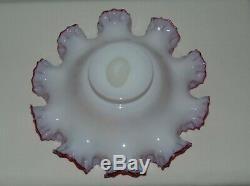 Huge Antique Victorian Cranberry Glass Ruffled Brides Basket Vase Bowl 1880