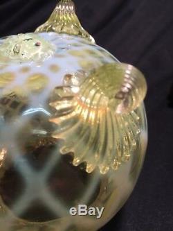 J Walsh Walsh Opalescent Uranium Filigree Rare Bowl