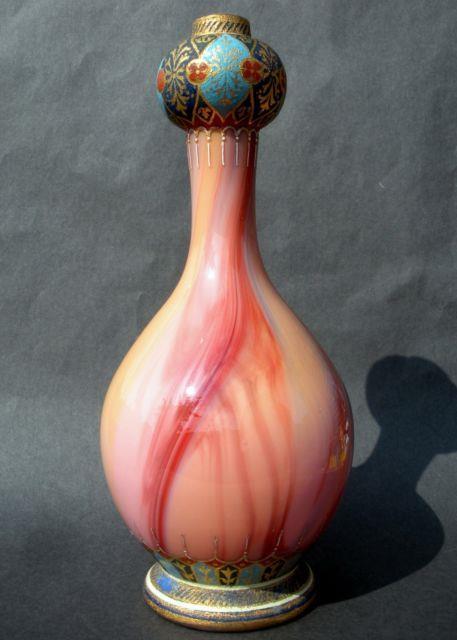 Jugendstil Bohemian Marbled Carneol Glass Vase Gilt/enamel Islamic Detail Loetz
