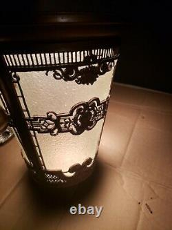 LARGE Antique Crackle Glass Art Deco Pendant Light Fixture Hall foyer porch