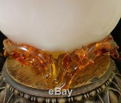 LG Antique Victorian Bohemian Harrach Cased Applied Floriform Art Glass Vase UV+