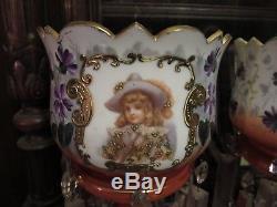 Large 14.5 Inch Antique Victorian Portrait Mantle Lustres Enameled