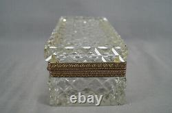 Large Antique French Baccarat Style Cut Crystal & Gilt Ormolu Jewelry Box Casket