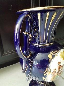 Large Cobalt Blue & Gold 15 1/4 Vase 2 Handles Victorian Scene Fragonard Italy
