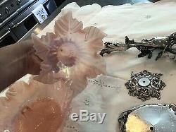Large Stunning Antique Victorian Pink Art Glass Silverplate Epergne