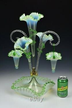 Large Victorian Art Glass Epergne Green and Fiery Opalescent 20+ Inches