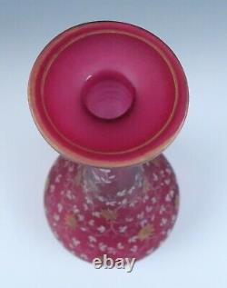 Large Victorian Enameled Satin Ruby Glass Vase Antique Frosted Cranberry Gold
