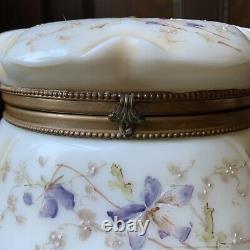 Large Wave Crest Dresser Box White, Purple Flowers, Bottom Marked