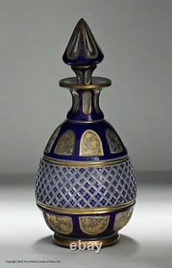 Late Victorian Bohemian flash-cut scent bottle & stopper