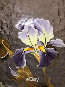 Legras/Mont Joye Art Glass footed Bowl-Iris Blooms-Chipped Ice withGold Victorian