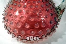 Lg. Victorian 1880s Hobbs Pink Cranberry Glass Opalescent Hobnail Water Pitcher