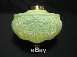 Lge Victorian, Art Nouveau Deeply Moulded, Vaseline Glass Oil Lamp Font