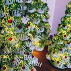 Lighted Mercury Glass Christmas Trees Woodland Farmhouse Victorian Art