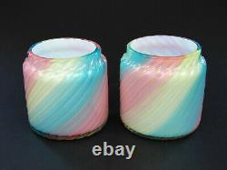 Loetz two spiral ribbed Rainbow glass vases pair 1890s Victorian Bohemian