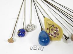 Lot of 54 Antique/Victorian Hat Pins Carnival Glass Art Deco Rhinestone Enamel