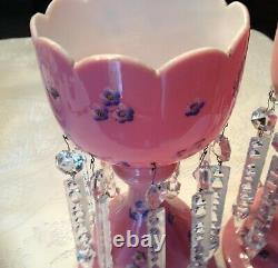 Lovely Decorated Pink Bristol Glass Victorian Lusters Lustres