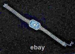 Lovely Sterling Camphor Glass Bracelet Art Deco with Natural Tiny Diamond Safety