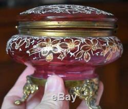 Lovely Victorian Moser Cranberry Glass Dresser Box W Gilded Floral Decorations