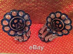 MAGNIFICENT Pair of Blue Overlay Victorian Lusters CANDLESTICK HOLDERS