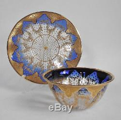 MOSER Bohemian COBALT BLUE Gilt GOLD ENAMEL STARS Art Glass BOWL Dish PLATE