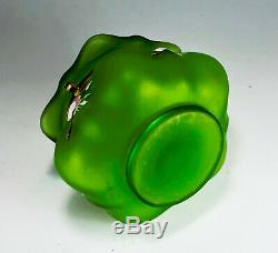 MOSER Decorated Blown Out Jewelery Patch Box Emerald Green Roses Wild Roses