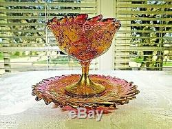 MOSER attributed cranberry & gold sherbert cup and underplate set AWESOME