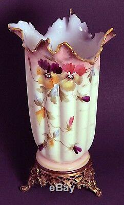 MT WASHINGTON / SMITH BROS Ribbed Ruffled Pansies Glass Vase Ormolu Base ANTIQUE