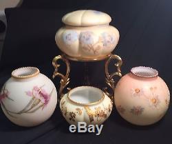 MT WASHINGTON SMITHBROS with TRADEMARK Enameled Carnations Satin Antique Vase Mint