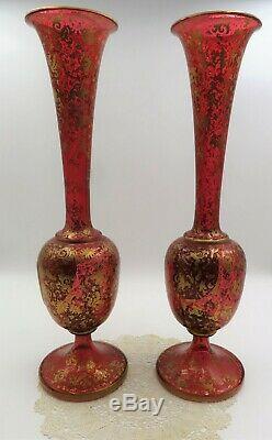 Magnificent Pair 19c Bohemian Cranberry Gilt 15 7/8 HP Flower Medallion Vases