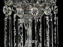 Magnificent Pair Of Large Bohemian Crystal Luster Candle Holder With Prisms